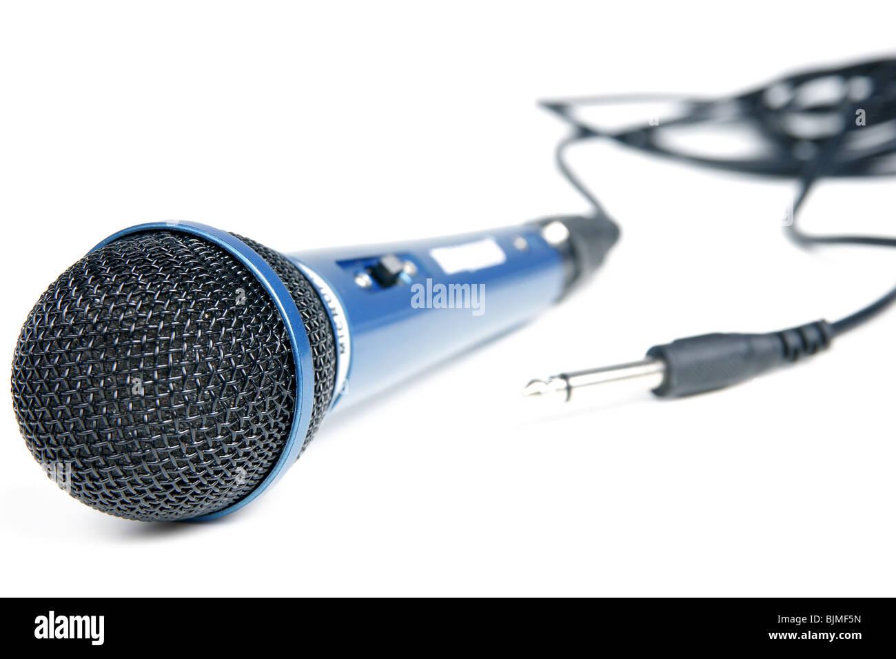 Big Blue micro pour karaoké miusic close-up Photo Stock
