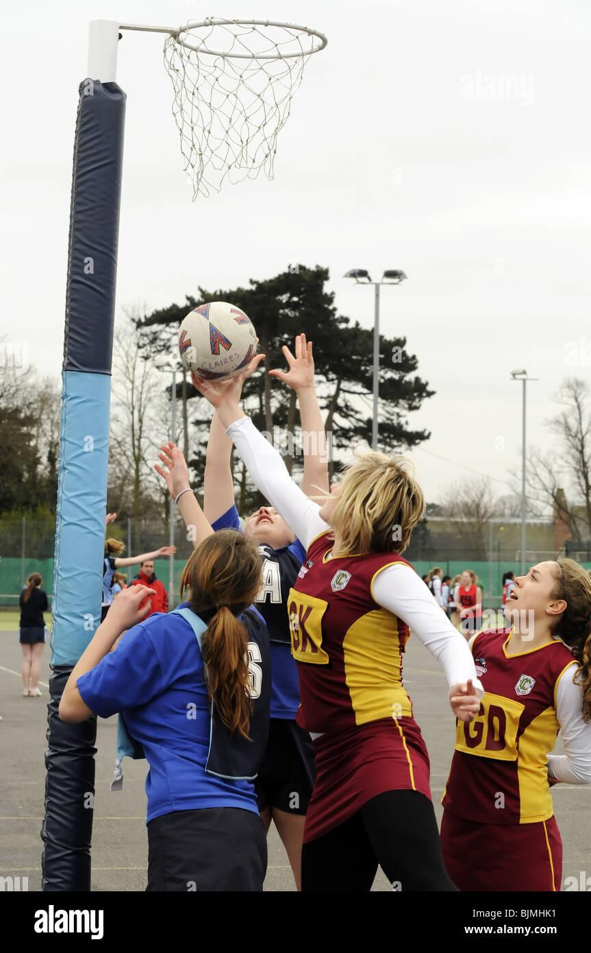 Jeu de netball inter-écoles. Photo Stock