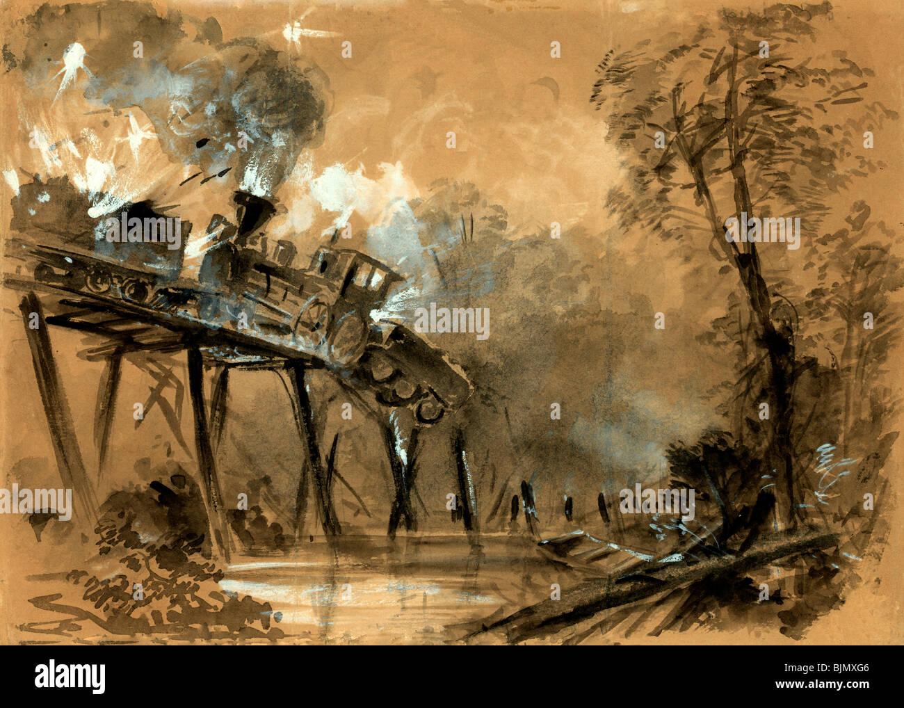 Destruction des locomotives sur le pont sur la rivière Chickahominy, Virginie durant la guerre civile USA , Photo Stock