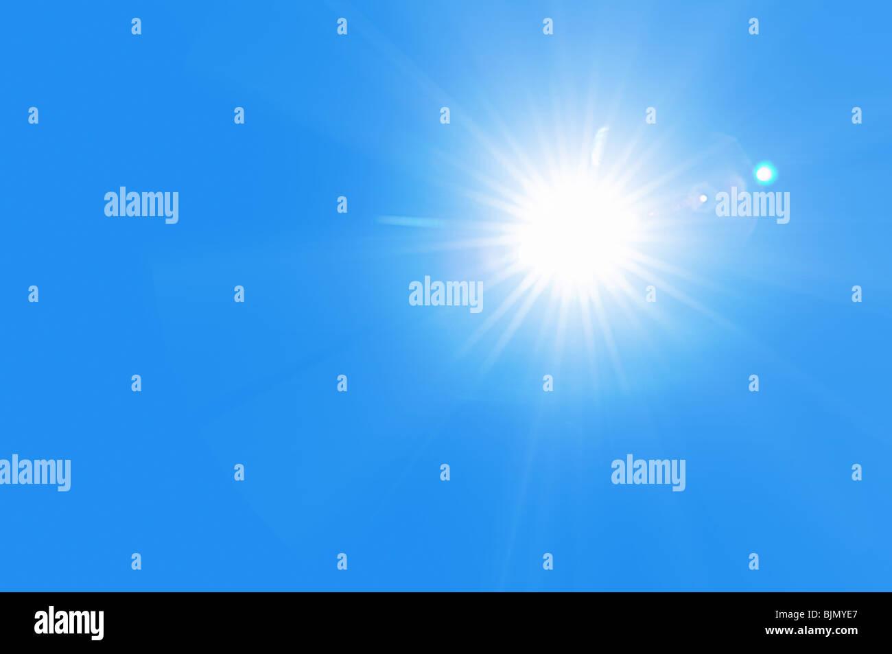 Soleil ciel bleu Banque D'Images