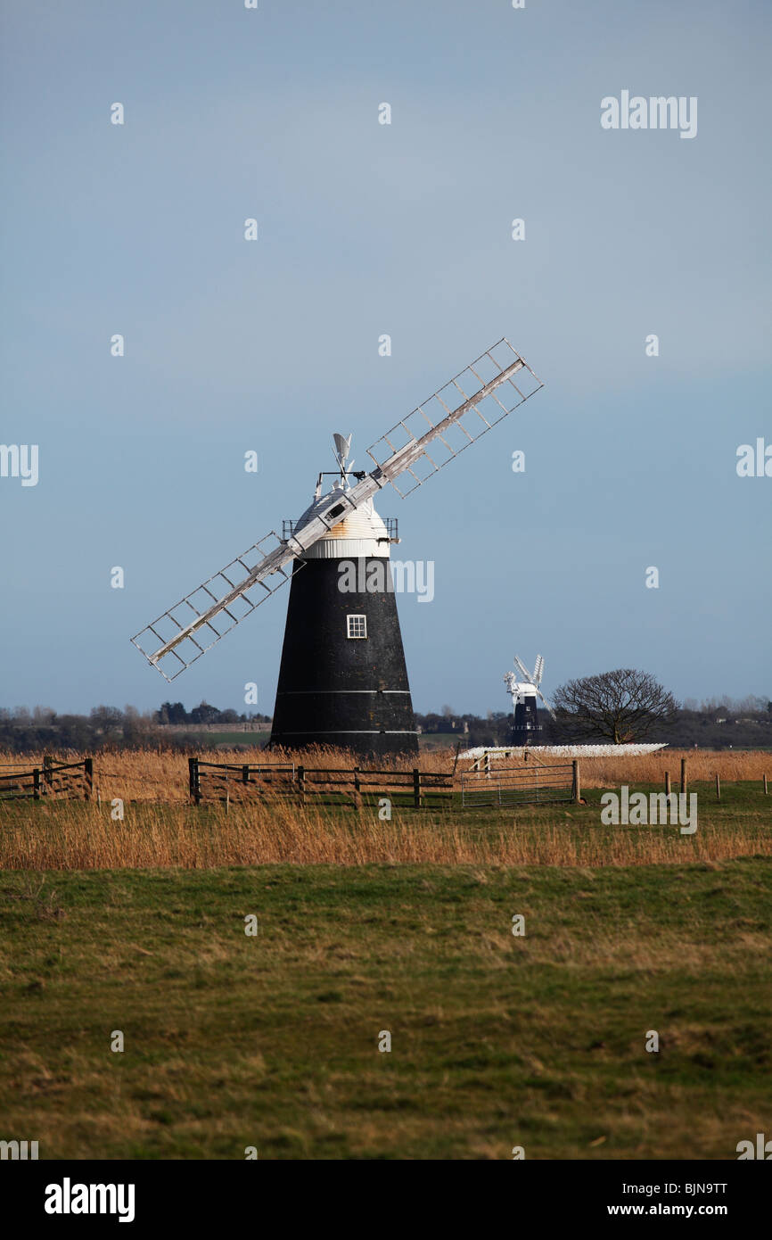 Le Drainage du mouton moulin, et Berney, Moulin de Drainage Armes Marais Halvergate, Norfolk Broads Photo Stock