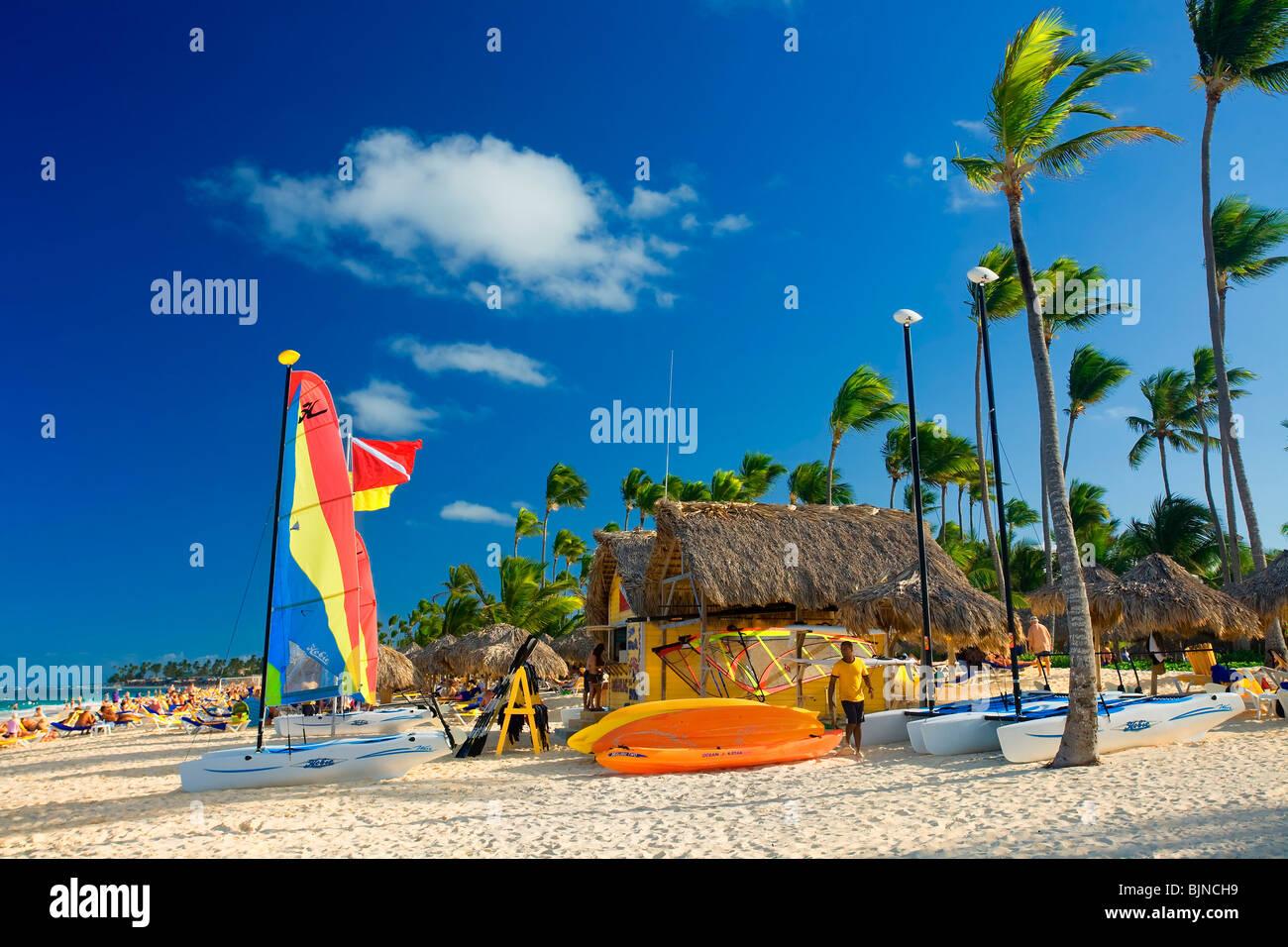 La plage de Bavaro, Punta Cana, République dominicaine Photo Stock