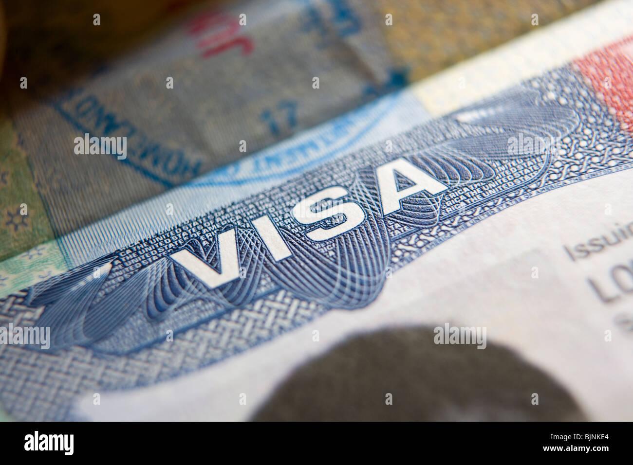 États-unis visa de voyage Photo Stock