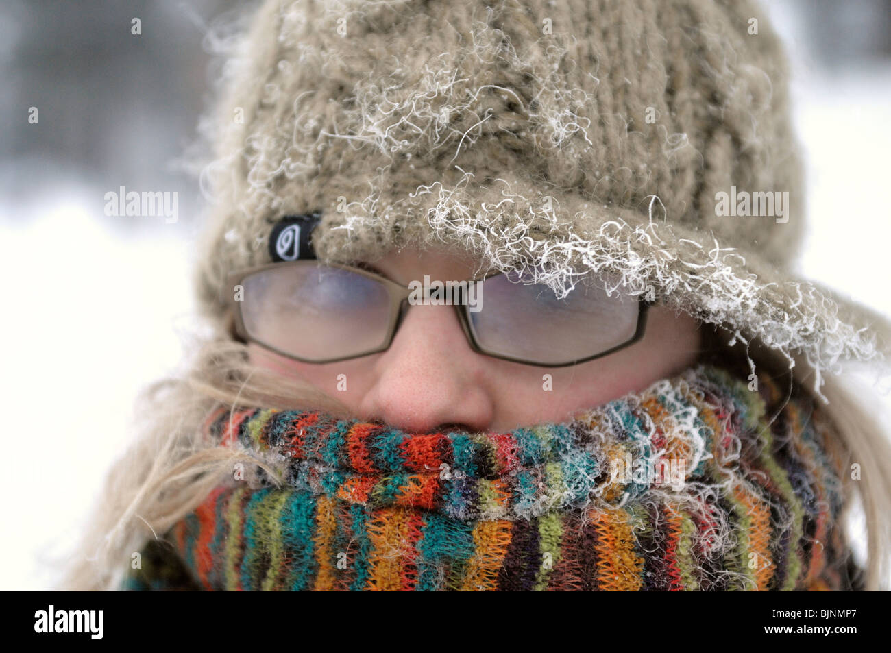 Après une promenade dans le froid 30° en dessous de zéro en Laponie. Banque D'Images