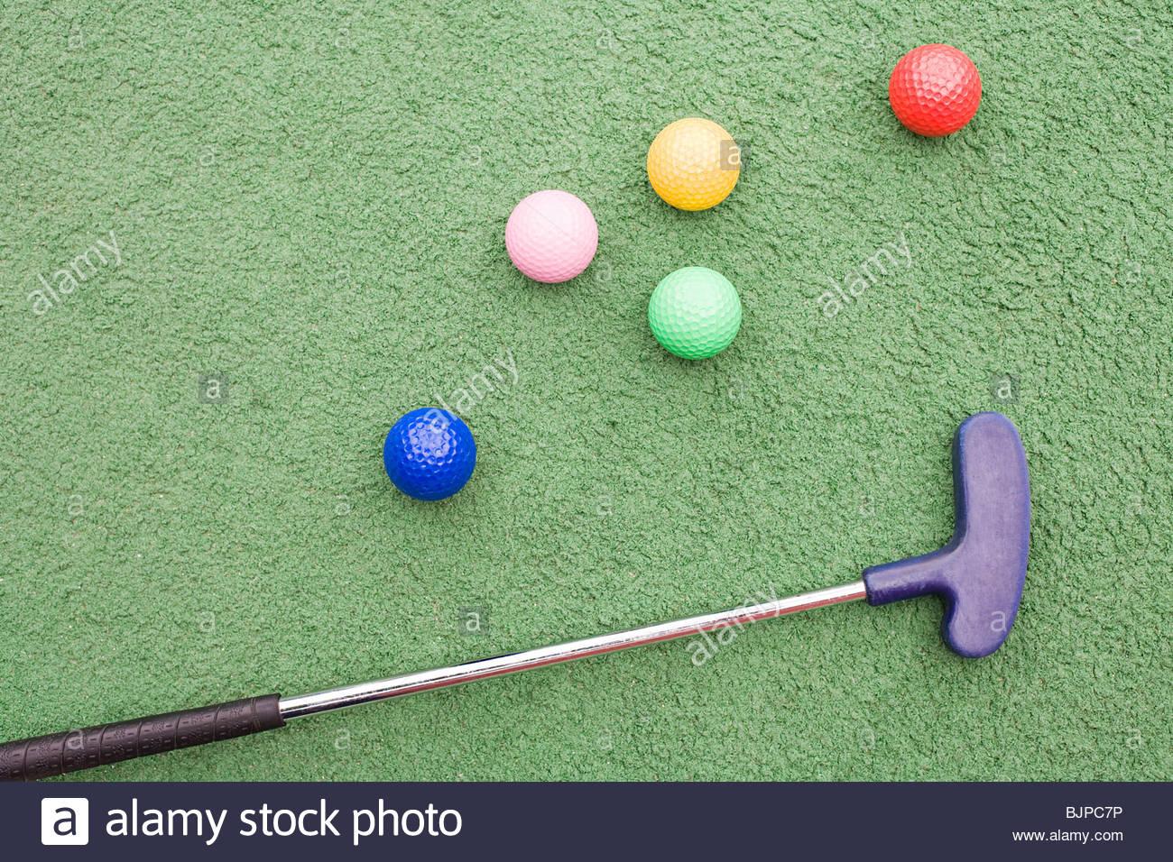Club de golf et des balles de golf Photo Stock