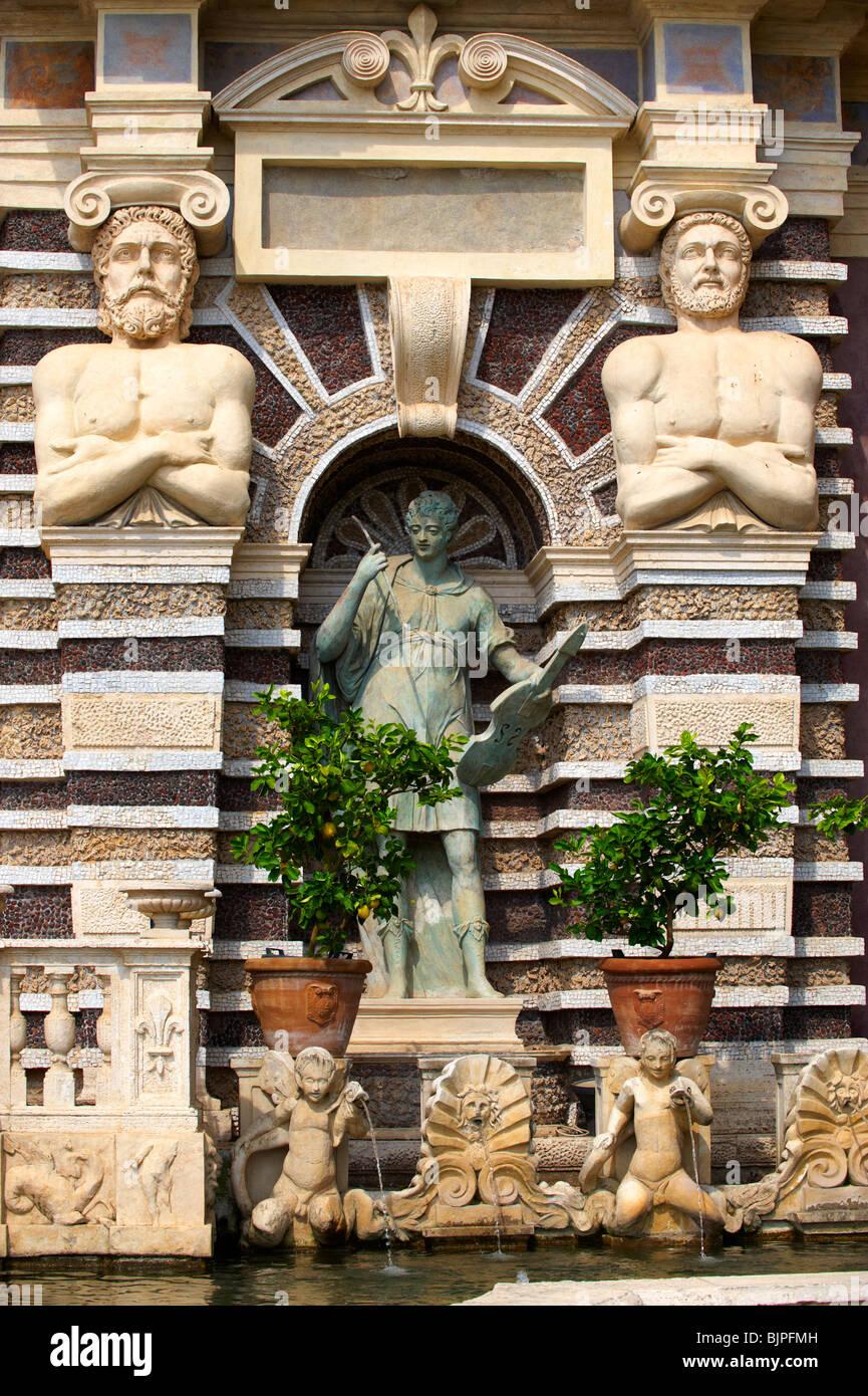 Statue d'Orphée. L'Orgue Fontaine, 1566, l'organe d'habitation pipies entraînée par Photo Stock