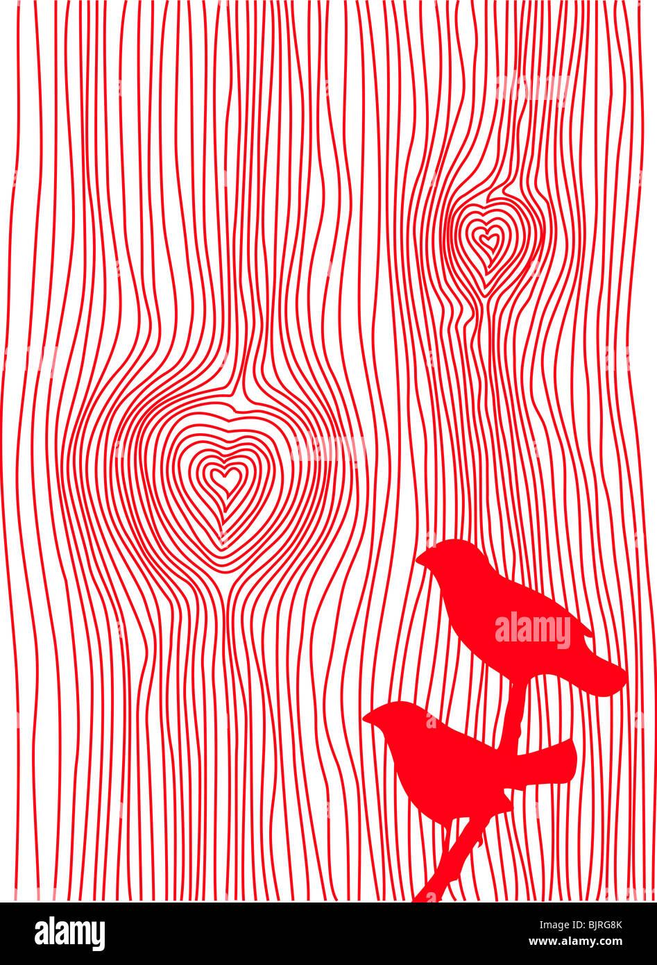 Texture de grain de bois avec des cœurs et des oiseaux, vector Photo Stock