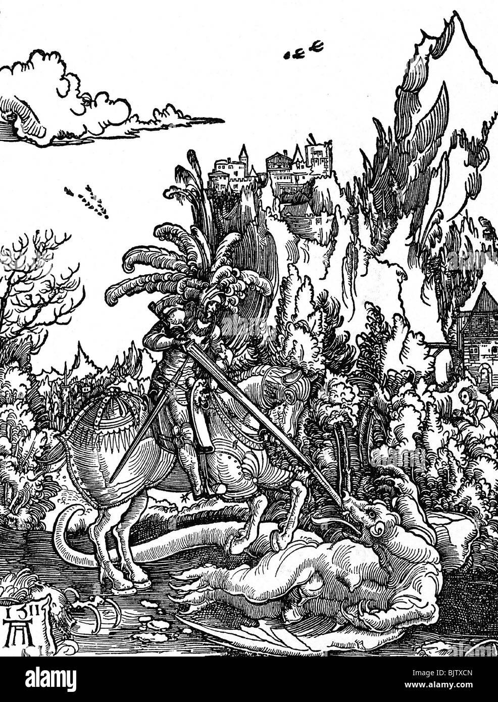 George, Saint, circa 303 +, martyr, saint Helper, pleine longueur, à cheval, terrassant le dragon, gravure sur Banque D'Images