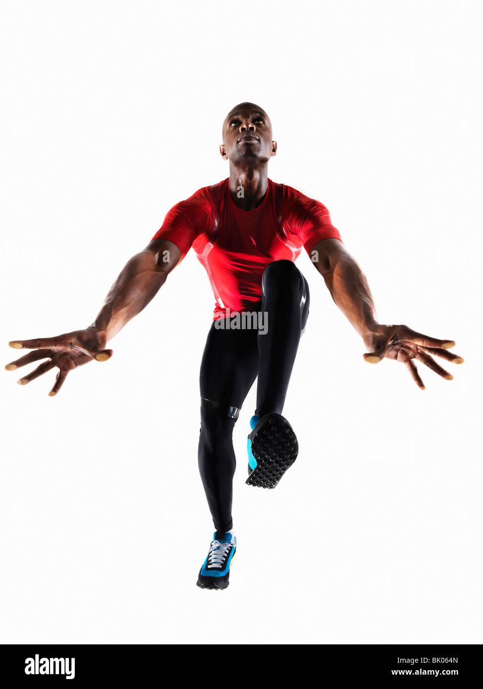 Athlète masculin de la préparation de l'exécution Photo Stock