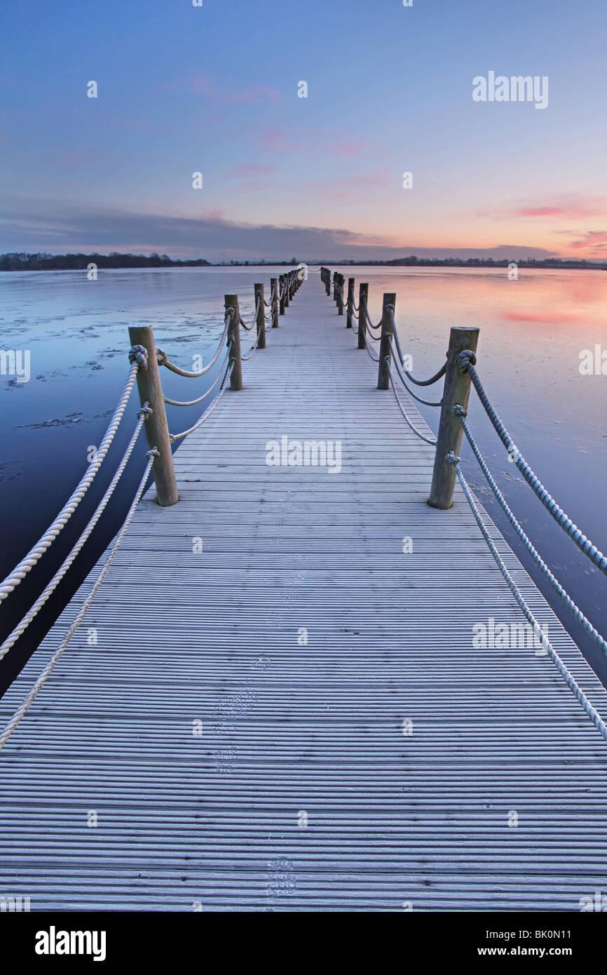 Jetée de l'île d'Oxford, l'Irlande du Nord. Photo Stock