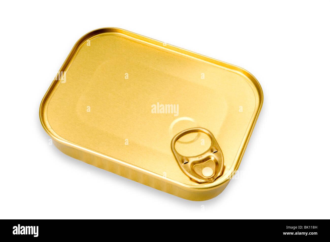 Boîte de conserve de sardine on white Photo Stock