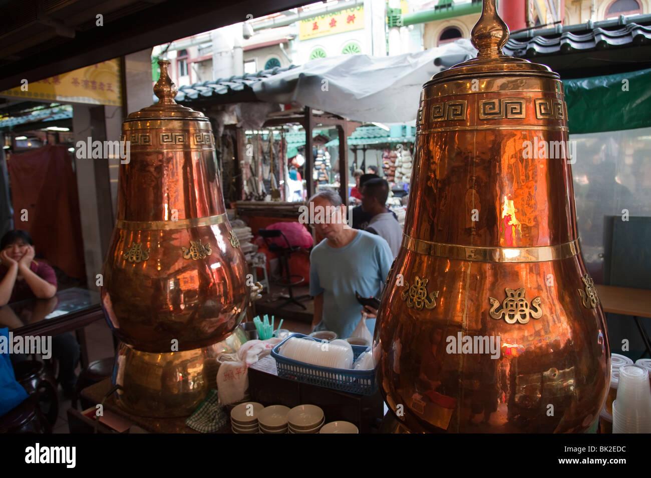 Magasin de thé de la rue du marché le nouvel an chinois tourisme voyage Malaisie Kuala Lumpur China town Photo Stock