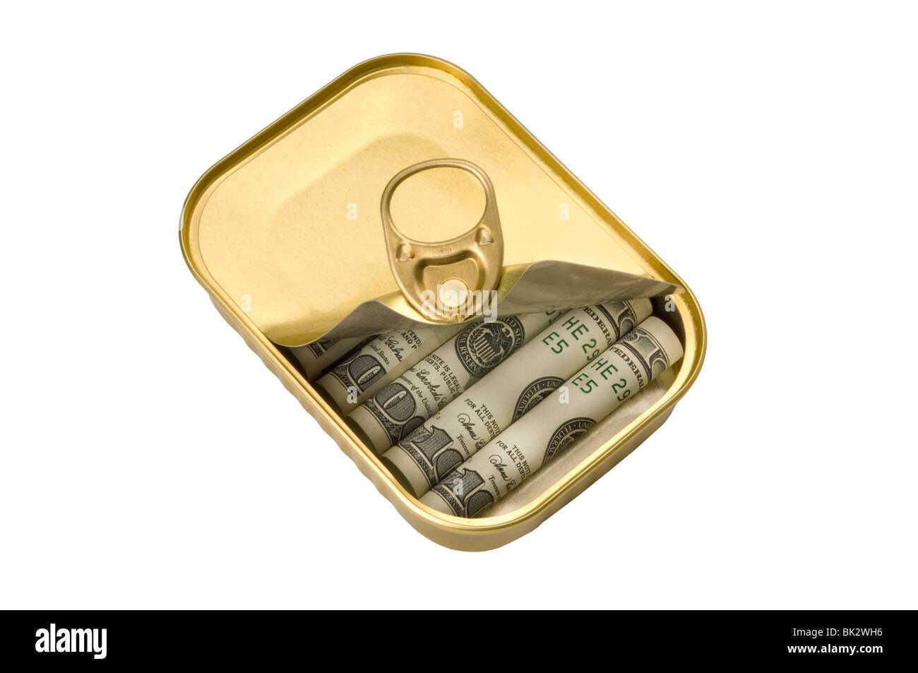 Tin avec de l'argent à l'intérieur Photo Stock