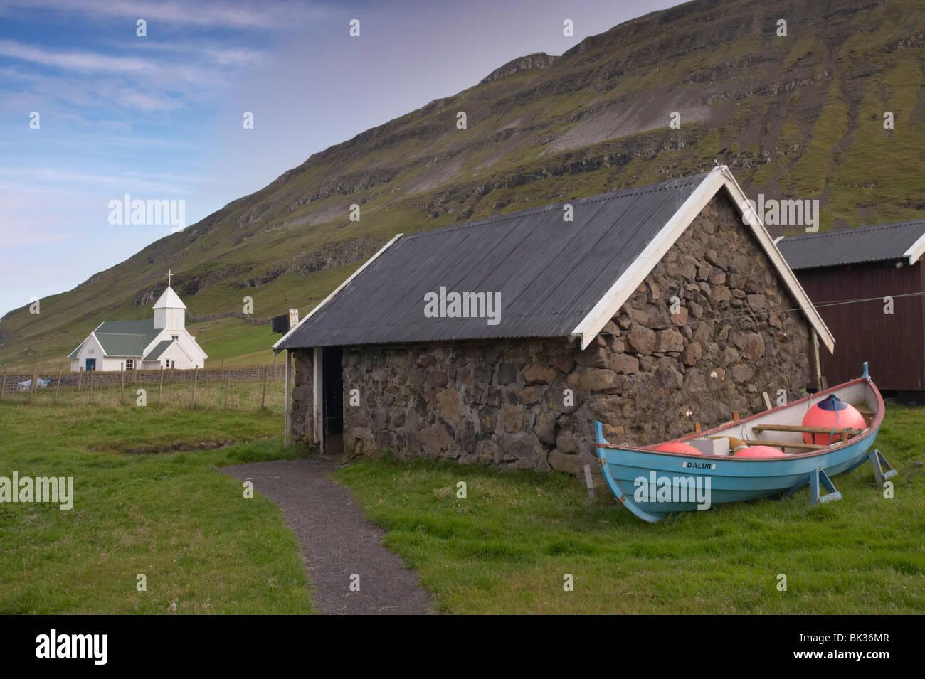 Les bâtiments traditionnels à Dalur, Sandoy, Îles Féroé (îles Féroé), Danemark, Photo Stock