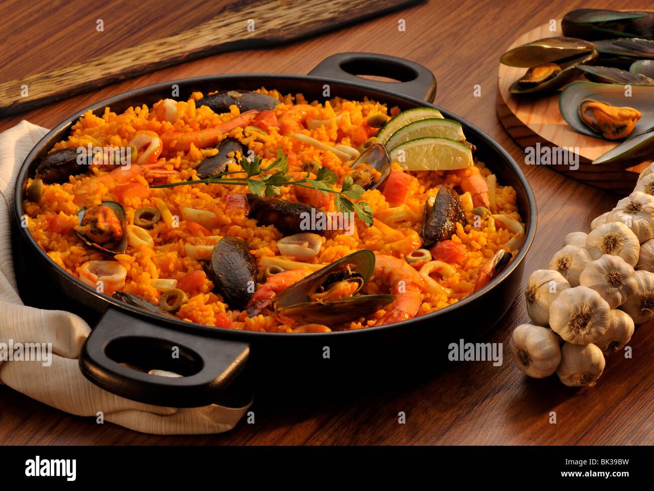 La Paella, un plat de riz espagnol, Espagne, Europe Photo Stock