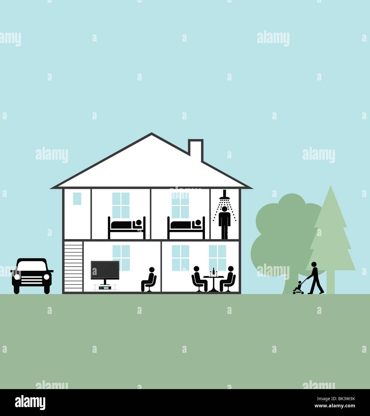 Section transversale du vecteur par le biais d'une maison familiale Photo Stock