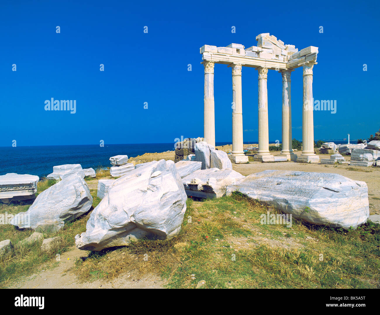Vestiges romains du Temple d'Apollon, Côté, Anatalya Province, Anatolie, Turquie, Asie mineure, l'Eurasie Photo Stock