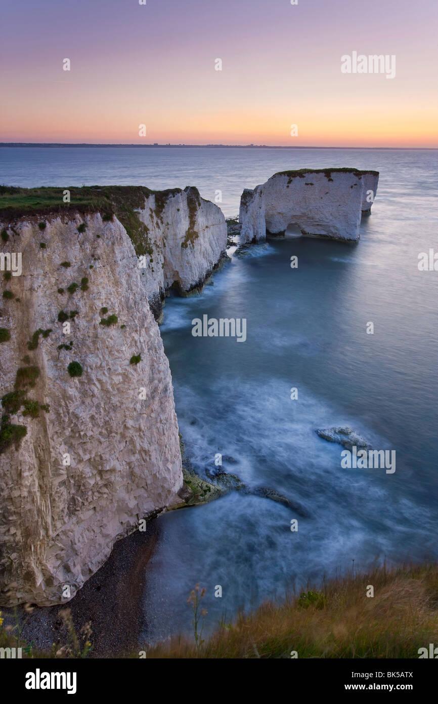 Old Harry Rocks, l'avant-pays ou Handfast Point, Studland, à l'île de Purbeck, Dorset, Angleterre, Photo Stock