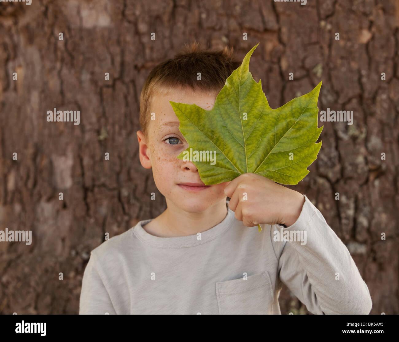 Garçon de se cacher derrière de grandes feuilles vert Photo Stock