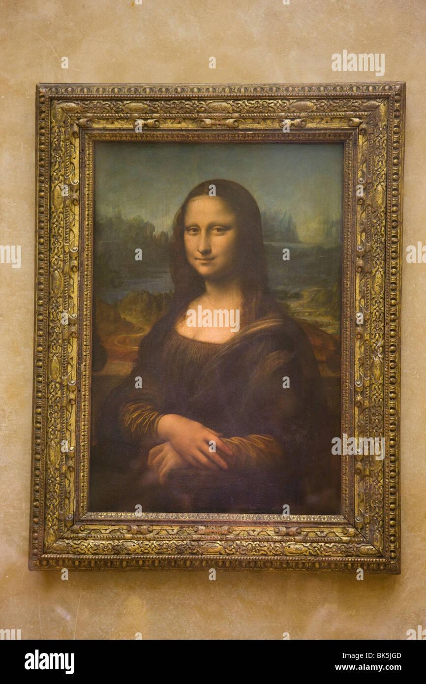 Peinture de la Joconde de Léonard de Vinci, Musée du Louvre, Paris, France Photo Stock