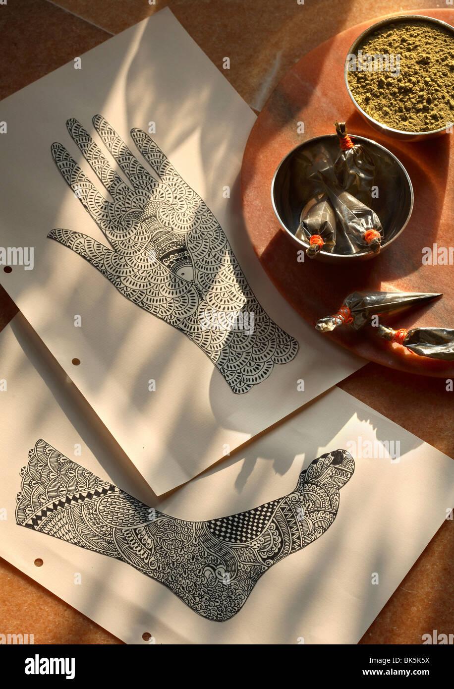 Mehendi henné indien, l'art corporel, l'Inde, l'Asie Photo Stock