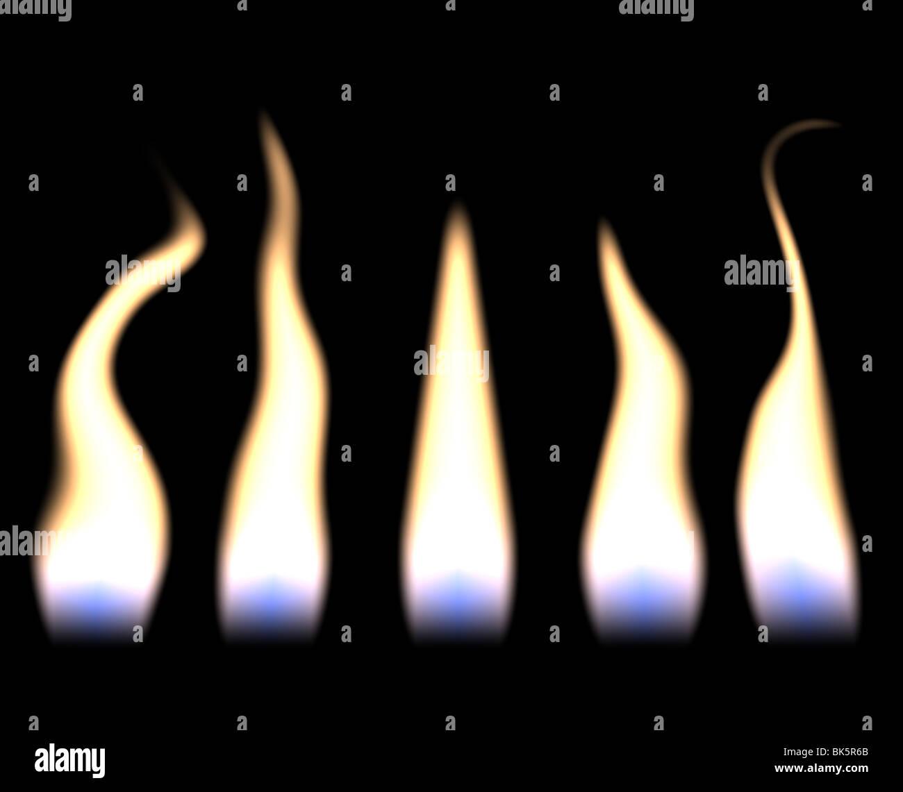 Cinq grandes flammes de bougie dans une rangée Photo Stock