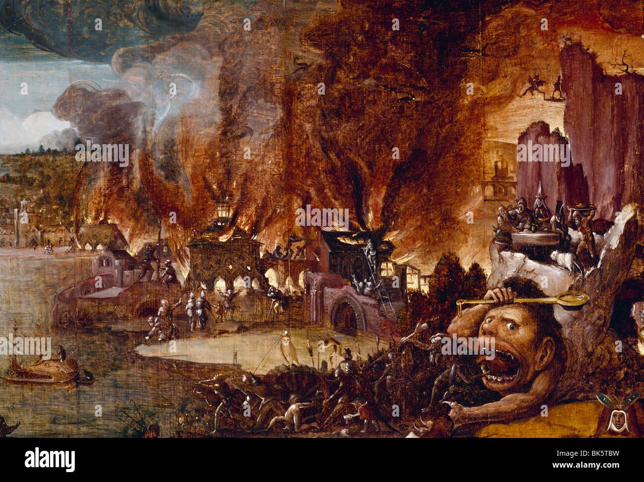 La Tentation de Saint Antoine de Jérôme Bosch la tempera on wood panel détail vers 1490 Circa 1450 Photo Stock