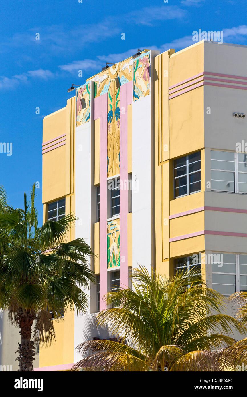 """""""L'Art Déco, l'Hôtel Plage 'Sud' Miami, Floride, USA Photo Stock"""