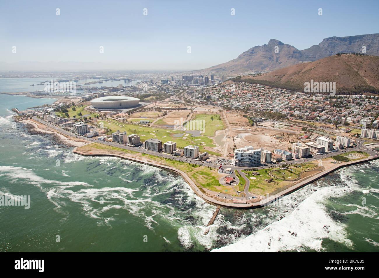 Cape town stadium et la côte Photo Stock