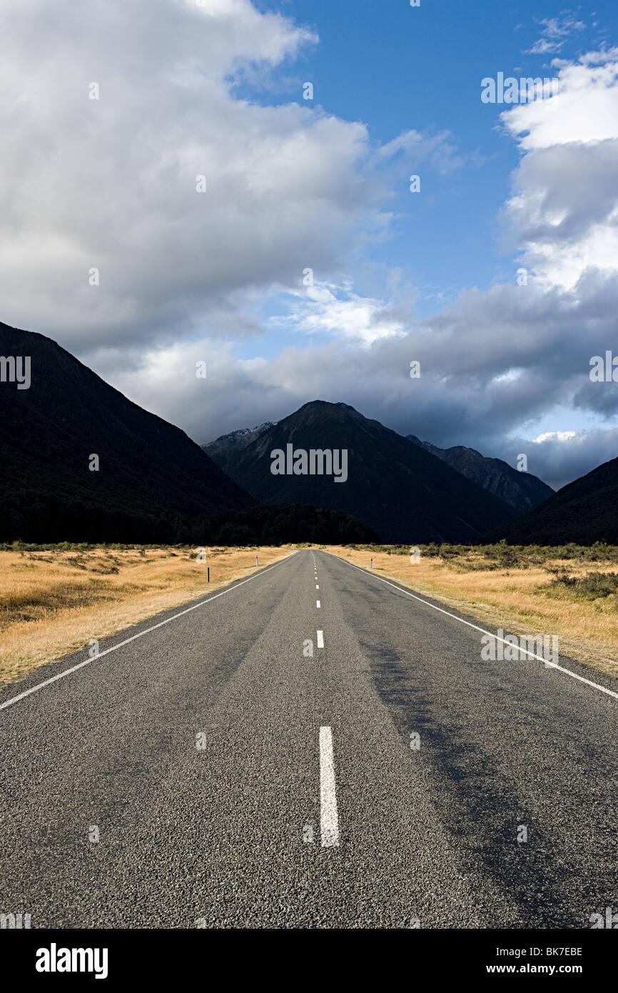 Les plaines de Canterbury, route vers le col d'Arthur Photo Stock