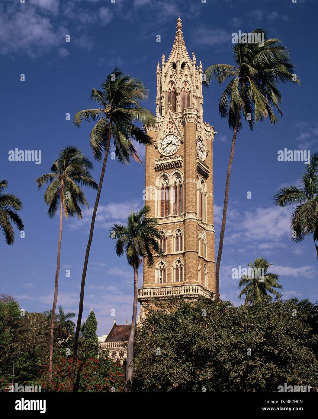 L'horloge, l'université de Mumbai, Inde, Asie Photo Stock