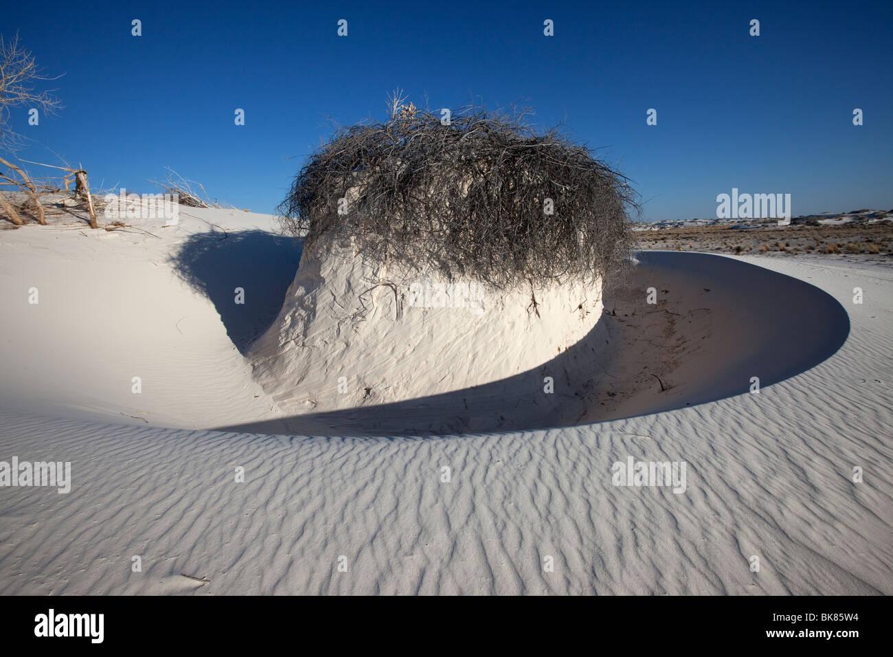 Vent de sable sculpté, Formation de White Sands National Monument, Nouveau-Mexique Photo Stock