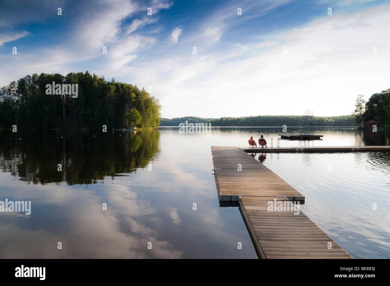 Lake dans le sud-ouest de la Suède, Scandinavie, Europe Photo Stock