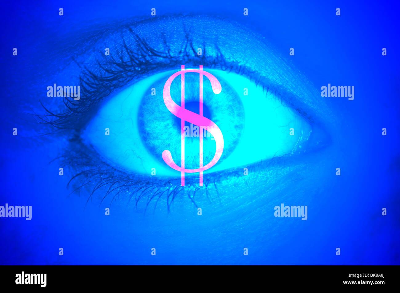 Gros plan d'un oeil avec le symbole euro, image symbolique de la cupidité Photo Stock