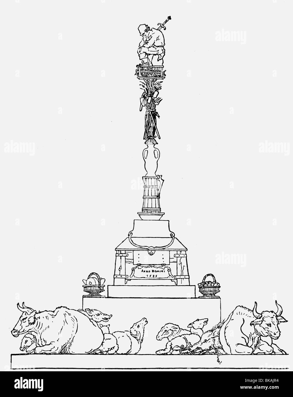 Les événements, La Guerre des paysans allemands 1524 - 1526, le concept d'une colonne commémorant Photo Stock