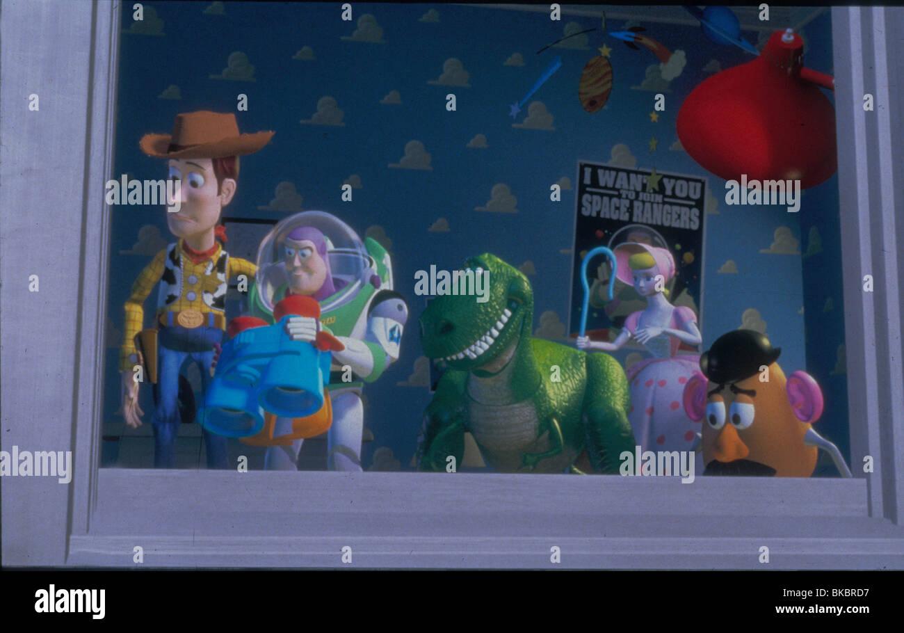 TOY STORY (1995) DESSIN ANIMÉ Woody, Buzz Lightyear, REX, BO-PEEP, MR POTATO HEAD TYSY 109 DISNEY CRÉDIT Banque D'Images