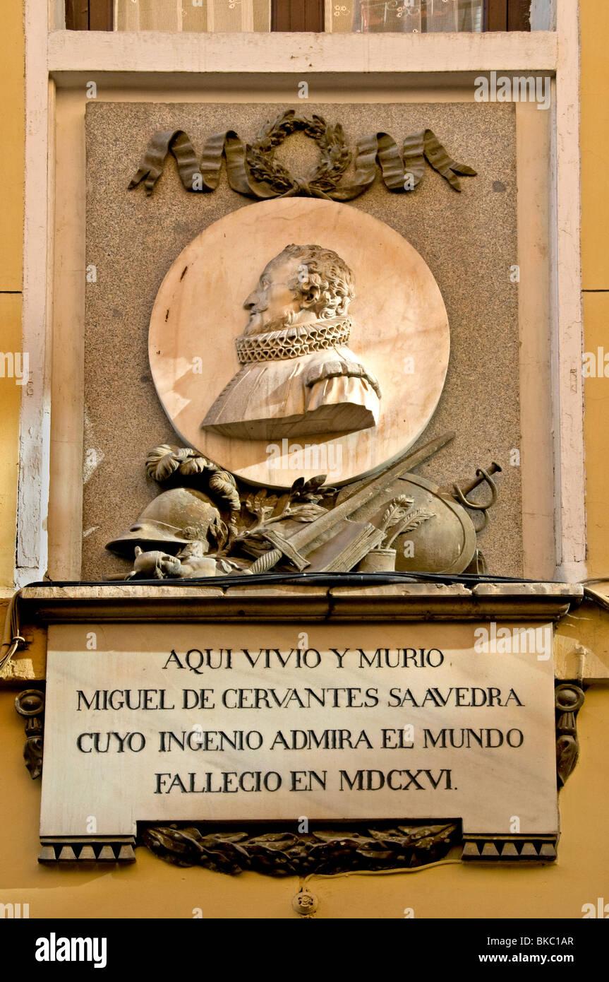 Maison de Michael de Cervantes dans la Calle de Cervante Madrid ESPAGNE Don Quichotte author writer Banque D'Images