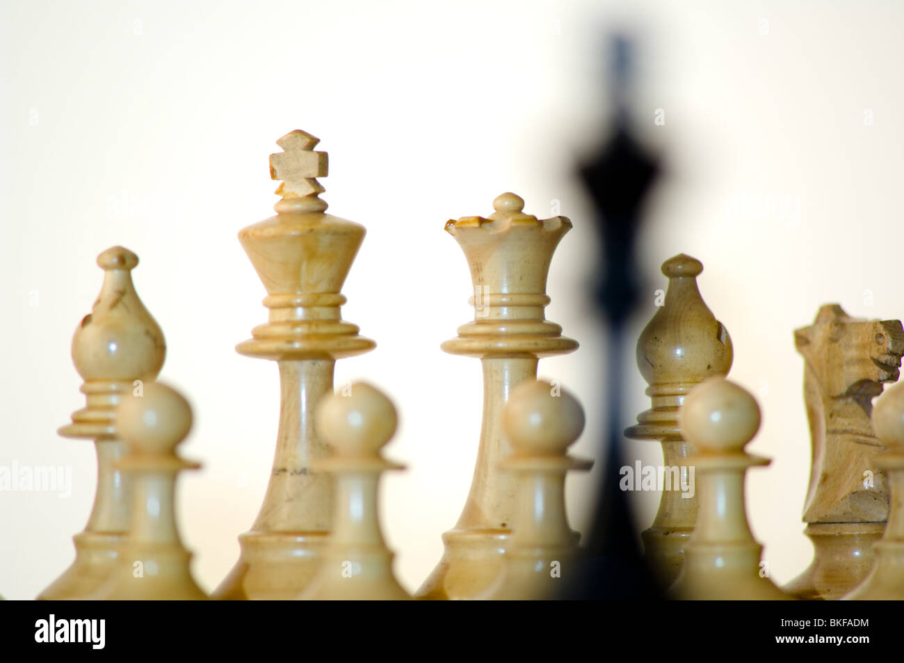 Échecs, roi noir in front of white chess pieces on chess board Banque D'Images
