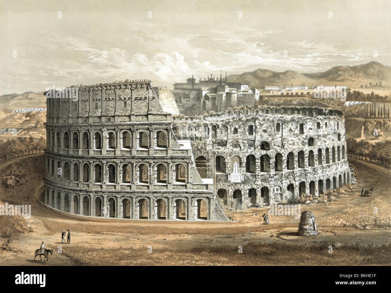 Circa 1872 Vintage lithographie du Colisée à Rome, Italie, tel qu'il apparaissait dans la dernière Photo Stock