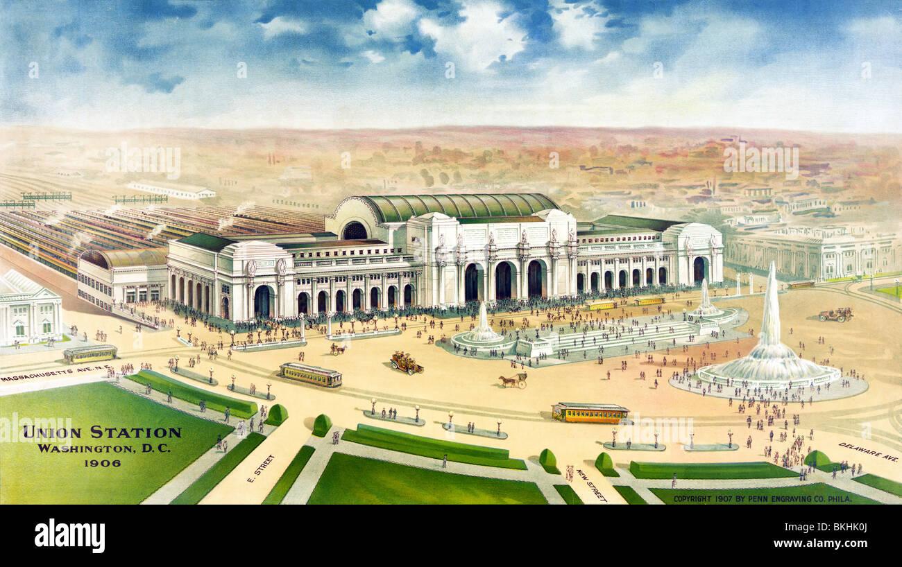 Vintage print c1906 montrant une vue aérienne de l'Union Station à Washington DC qu'on pourrait Photo Stock