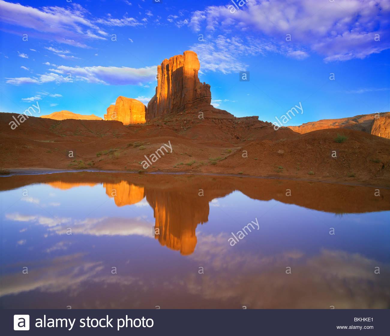 """""""Monument Valley"""" de réflexion Butte 'Chameau' in 'pool' de pluie [Monument Valley Photo Stock"""