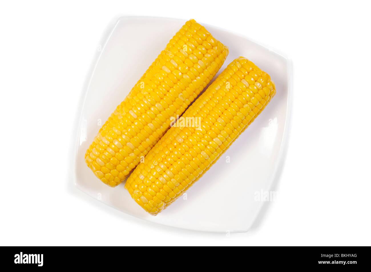 Épis de maïs fraîchement cuites sur lave isolated over white Photo Stock
