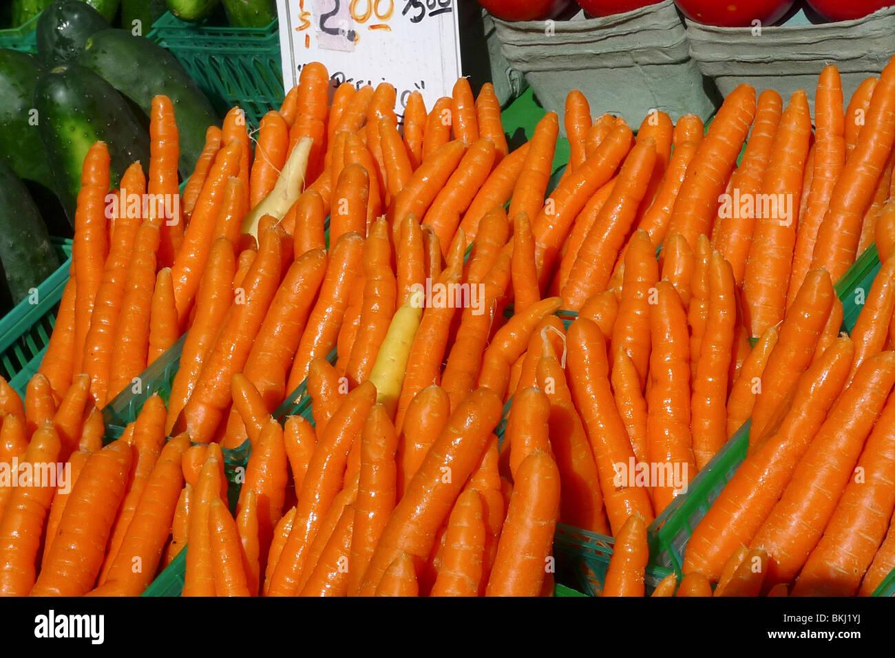 Carottes biologiques fraîchement cueillies sur l'affichage à un marché de producteurs. Photo Stock