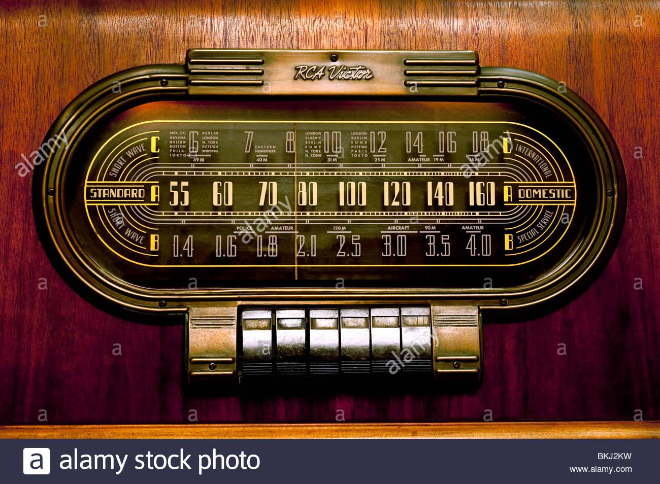 Antique Vintage Radio RCA Modèle 1940 19K sur ondes courtes bandes amateur belle ancienne Close Up du cadran Photo Stock