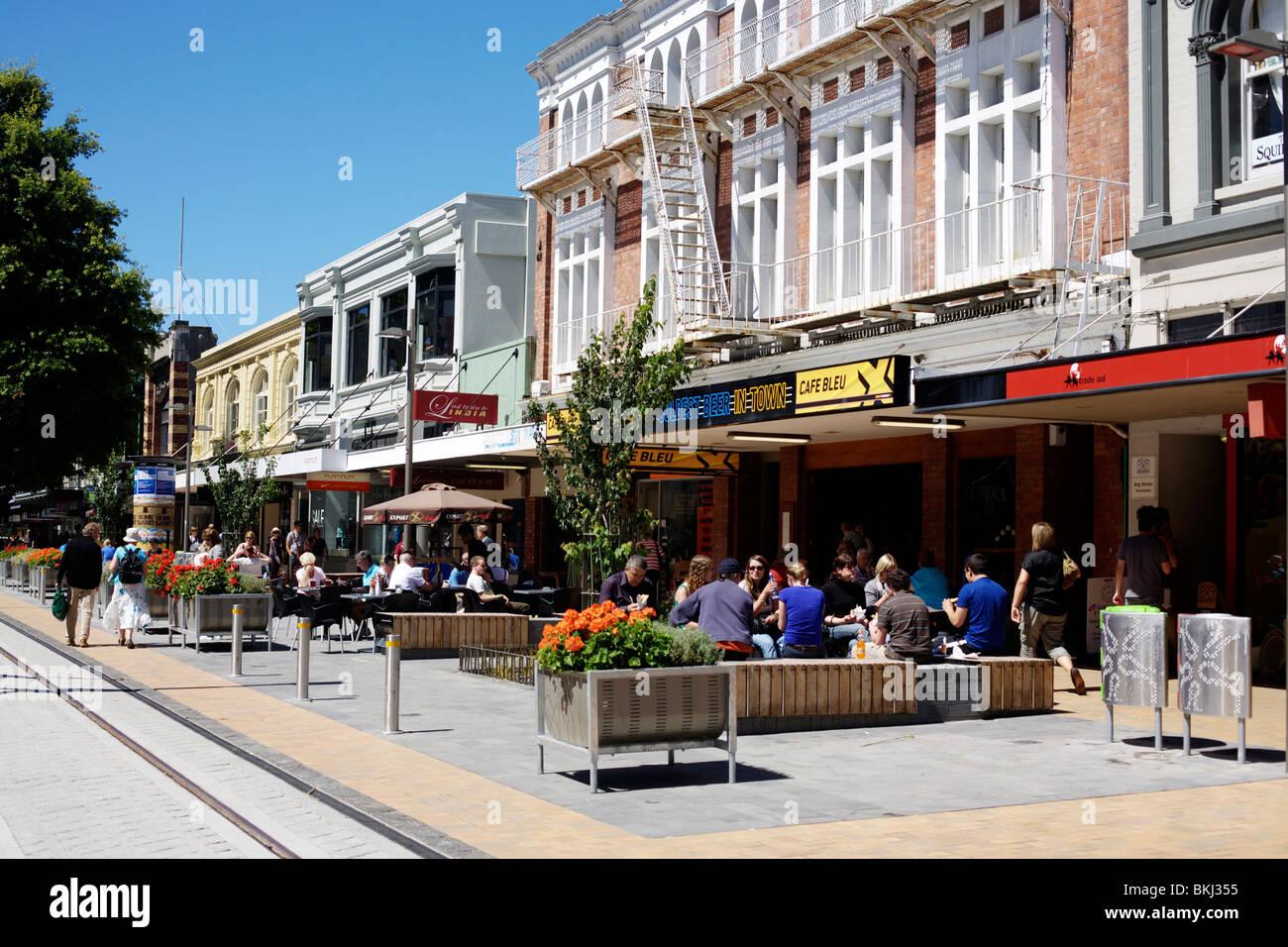 Une rue dans le centre de Christchurch, Canterbury, Nouvelle-Zélande Banque D'Images
