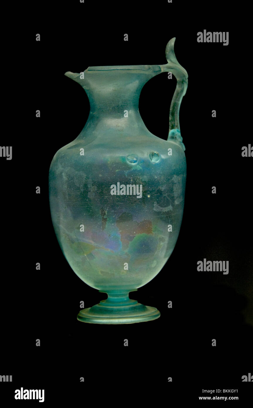 Vase en verre verrerie romaine AD 100300 Rome Italie Photo Stock