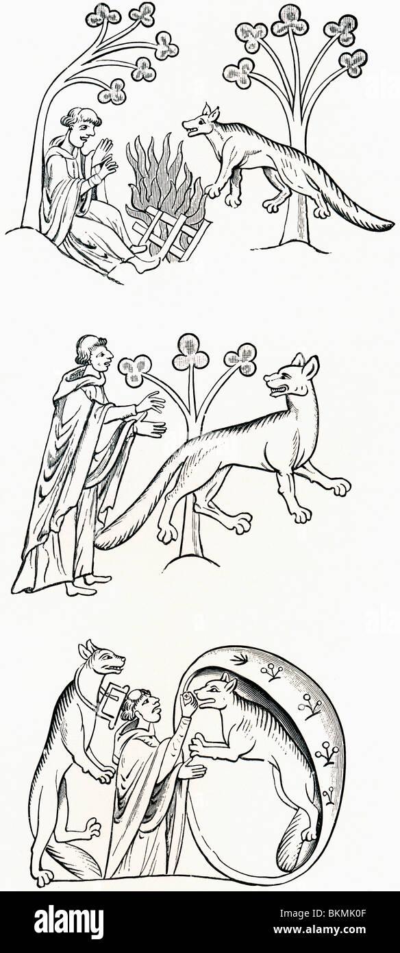 Légende du prêtre et les gens ont été transformés en loups. Photo Stock