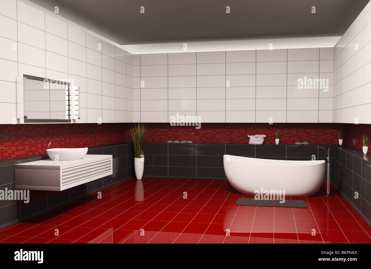 Salle de bains avec murs blanc noir et rouge marbre interior ...