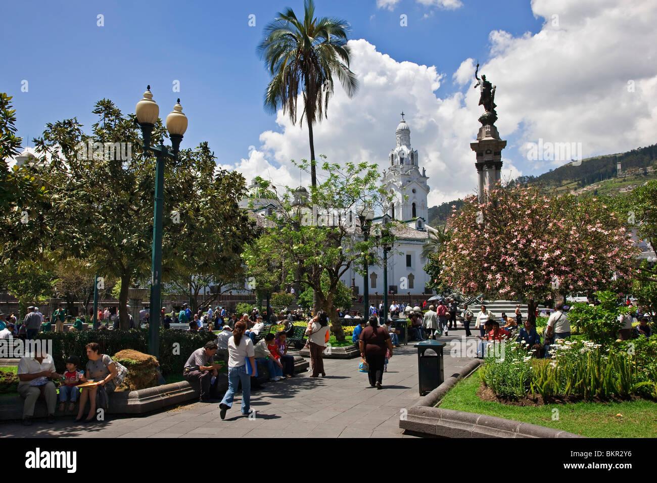 L'Équateur, la place de l'indépendance dans la vieille ville de Quito. Photo Stock