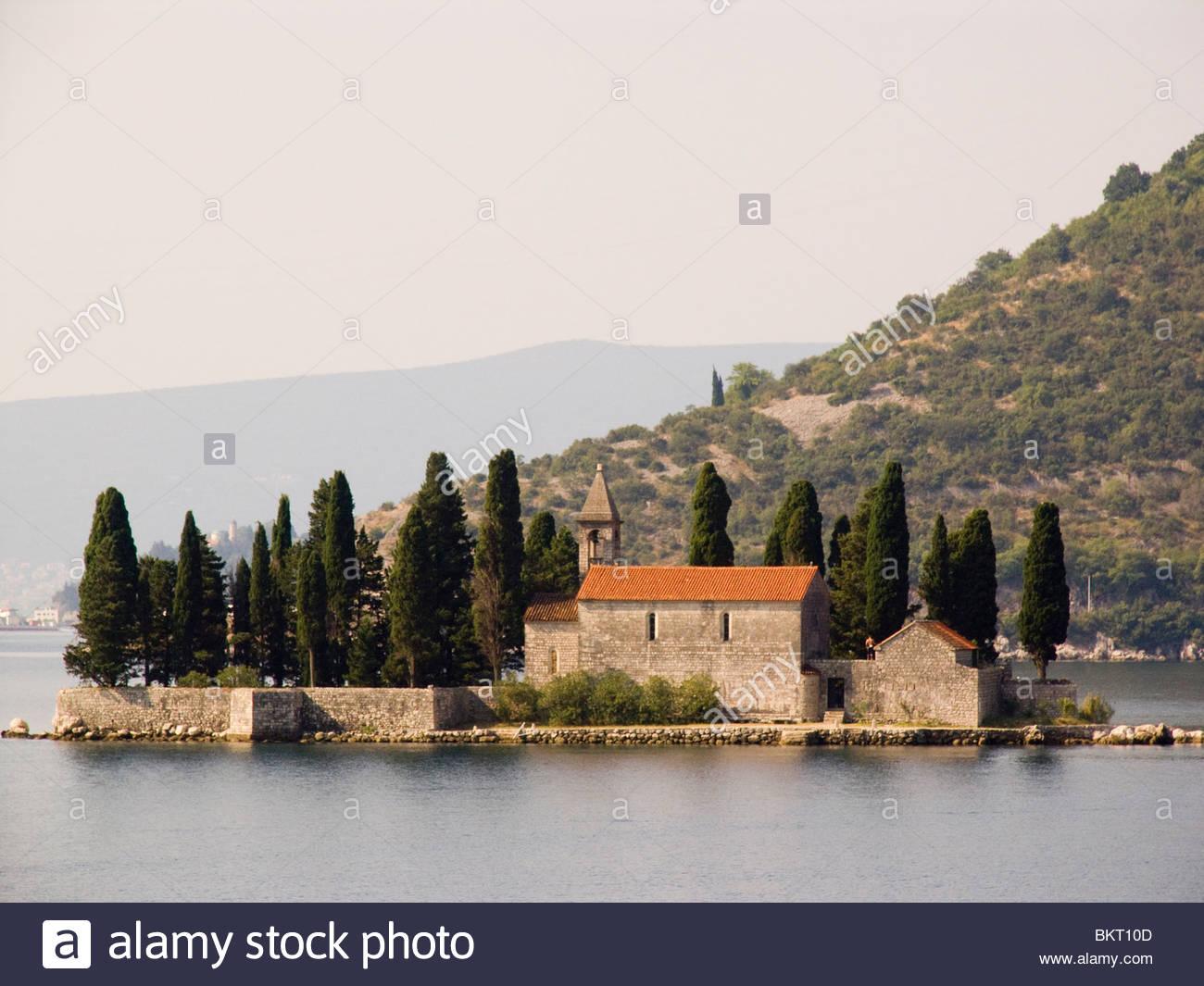 Monastère bénédictin,île de San Giorgio, Perast,Suede,Europe Photo Stock